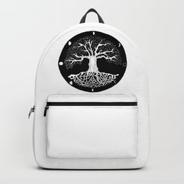 black and white tree of life with moon phases and celtic trinity knot Backpack