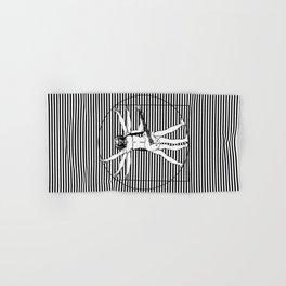 Vitruvian man - Les Paul guitar playing D-Chord (version with strips) Hand & Bath Towel