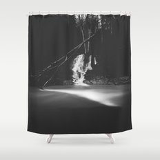 Minimalistic black and white waterfall Shower Curtain