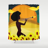 trumpet Shower Curtains featuring Trumpet Girl by Courtney Ladybug Johnson