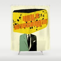 wisconsin Shower Curtains featuring Hello Wisconsin by Josh Franke
