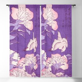 Japanese FLowers Purple Pink Blackout Curtain
