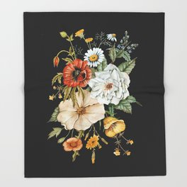 Wildflower Bouquet on Charcoal Throw Blanket
