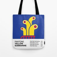 yellow submarine Tote Bags featuring Pantone YELLOW SUBMARINE by Alberto Lamote de Grignon