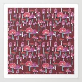 The red mushrooms Art Print