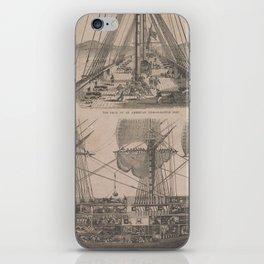 Vintage Historical American Battleship Diagram (1854) iPhone Skin