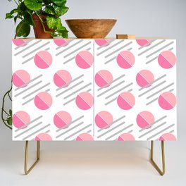 Modern Pink Circle Line Abstract Credenza