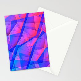 Bright contrasting fragments of crystals on irregularly shaped blue and pink triangles. Stationery Cards