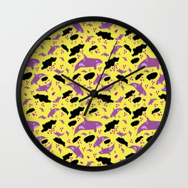 Oh Whale, trippy purple whales Wall Clock