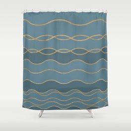 Blueprint Wavy Pattern 1 Shower Curtain