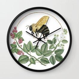 Bombus & Raspberries Wall Clock