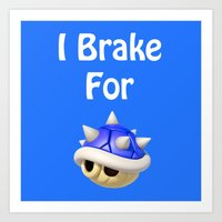 mario kart Art Prints featuring I Brake For Blue Shells (Mario Kart)  by Don Enrique
