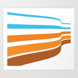 BLUE, ORANGE  AND BROWN LINES  ON A WHITE BACKGROUND Abstract Art Art Print