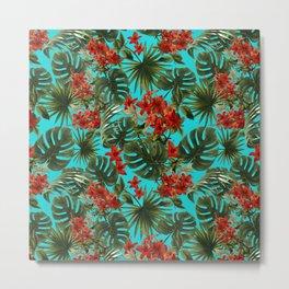 Aloha Flower Jungle Pattern Metal Print