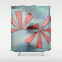 Red Triangles on Blue Grey Backdrop Shower Curtain