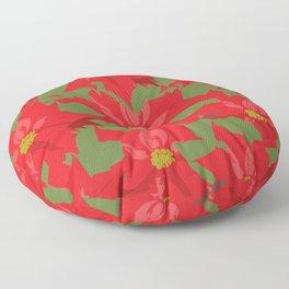 Poinsettia Love (Red) Floor Pillow