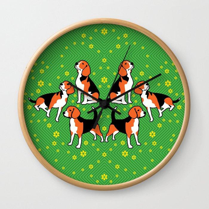beagles & buttercups Wall Clock