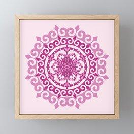 Pink Mandala on Baby Pink Background Framed Mini Art Print
