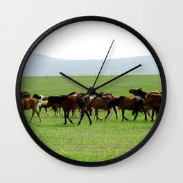 Horses on Grassland Wall Clock