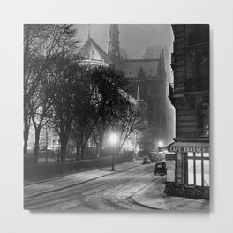 Notre Dame Cathedral, Winter Paris with snowfall black and white photograph / black and white photography Metal Print