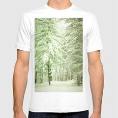 Winter Pine Trees MEDIUM Mens Fitted Tee White