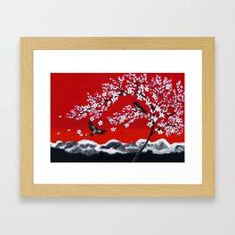 Crimson and Black Framed Art Print
