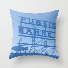 Pike Place - Public Market (Seattle, WA) Throw Pillow