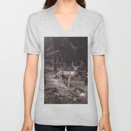 Lucky deer-magic wand in teeth Unisex V-Neck