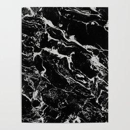 Modern silver black marble pattern Poster
