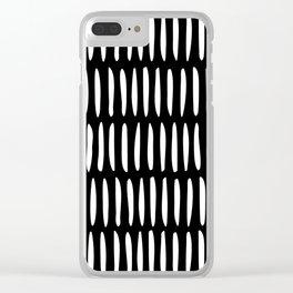 Classy Handpainted Stripes Pattern Black, Scandinavian Design Clear iPhone Case
