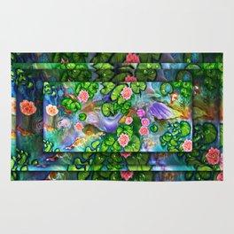 Mermaid in the lily pond Rug