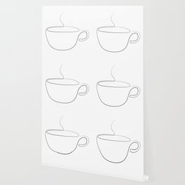 coffee or tea cup - line art Wallpaper