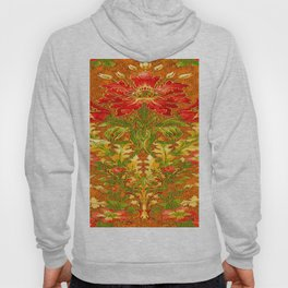 French Nouveau Red-Green Floral Caramel Color Designs Hoody