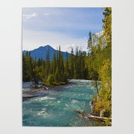 Maligne River & Pyramid Mountain in Jasper National Park, Canada Poster