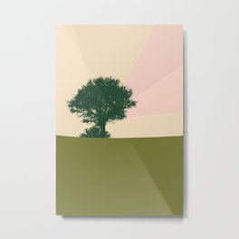 Trichromatic landscape Tree and a bird Metal Print