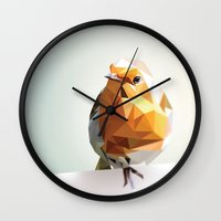 polygon Wall Clocks featuring Polygon Robin by Andrew Mason