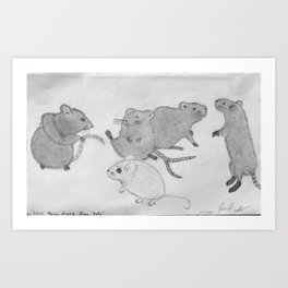 White Mouse Among Grey Rats  Art Print