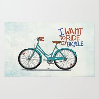 bicycle Area & Throw Rugs featuring Bicycle by Prince Arora