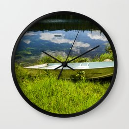 placid emerald sky Wall Clock
