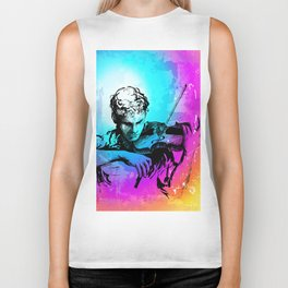 Violin player, violinist musician playing classical music. Music festival concert. Biker Tank