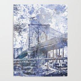 Brooklyn Bridge New York USA Watercolor blue Illustration Poster