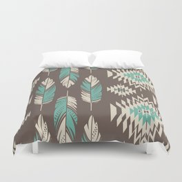 Native Roots - Turquoise & Brown Duvet Cover