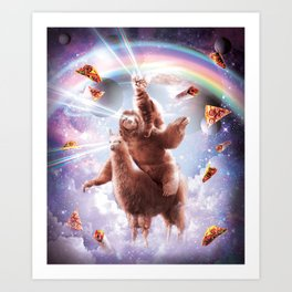 Laser Eyes Space Cat Riding Sloth, Llama - Rainbow Art Print
