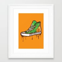 sneaker Framed Art Prints featuring Green Sneaker by ArievSoeharto