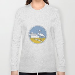 Great Blue Heron Farm Barn Circle Retro Long Sleeve T-shirt