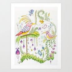garden and birds Art Print