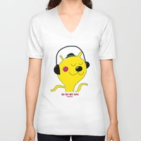 dj V-neck T-shirts featuring dj by Sucoco