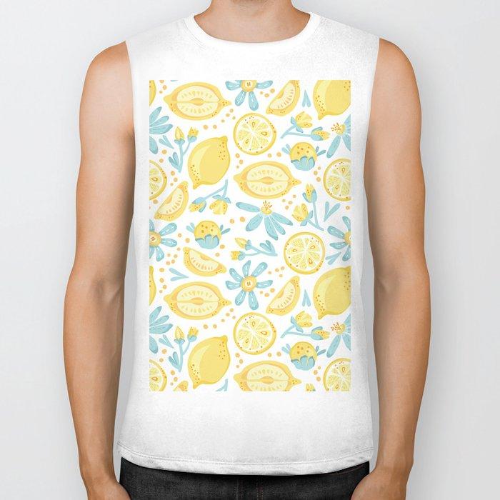 Lemon pattern White Biker Tank