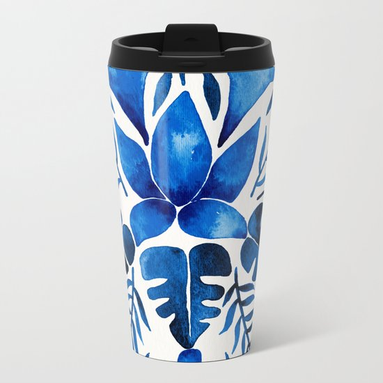 Tropical Symmetry – Navy Metal Travel Mug
