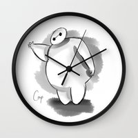 baymax Wall Clocks featuring BayMax by Cerys Edwards